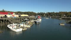 Maine Robinson Wharf with boats 2 sx Stock Footage