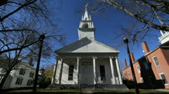 Maine Wiscasset Congregational church 1773 sx Stock Footage