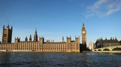 Westminster Bridge Big Ben London, England Thames River Parliament Building Day Stock Footage