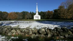Massachusetts church and stone wall cx Stock Footage