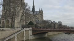 Beautiful Notre Dame Cathedral in Paris Stock Footage