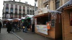 Flanders Christmas Decorations, People Shopping in Brussels, Belgium Stock Footage