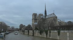 Cathedral Notre Dame de Paris and Île de la Cité Stock Footage