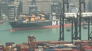 Stock Video Footage of Container Ship Arrives At Port