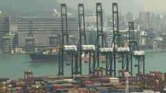 Container Ship Arrives At Port Stock Footage