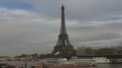 Timelapse of Eiffel Tower and Sena river paris france time lapse time-lapse  Stock Footage