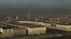 Turin Skyline Aerial View Landmarks Establishing Shot Cityscape Commuter Commute Stock Footage