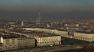 Stock Video Footage of Aerial View Turin Skyline Mole Antonelliana Piazza Vittorio Veneto Square Alps