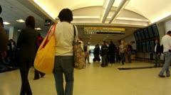 Travelers Houston airport traveling transportation business travel destination   Stock Footage
