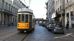 Old Tram via Manzoni Street Milan Italy Italian European Architecture Expo 2015 - stock footage