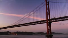 Lisbon suspension bridge from ship Stock Footage