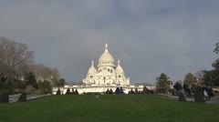The Basilica of the Sacred Heart of Paris church touristd monuments Stock Footage
