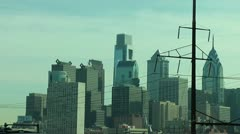 Philly City Skyline with Power lines - stock footage
