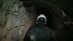 Miner walk in mine Stock Footage