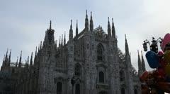 Milan Cathedral (Duomo di Milano), Duomo Square (Piazza del Duomo), Italy Stock Footage