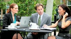 City Business Executives Wireless Technology Outdoors Stock Footage