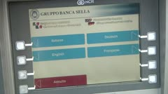 Bank of Palermo. ATM, Bancomat. Gruppo Banca Sella. Stock Footage