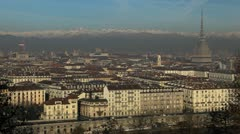 Aerial view of Turin with Mole Antonelliana, Piazza Vittorio Veneto Square Stock Footage