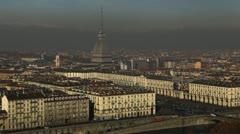 Turin Skyline Aerial View Landmarks Establishing Shot Cityscape Cars Traffic Stock Footage