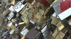 The locks of love lovers romantic couple life relationship Stock Footage