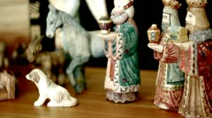 Hand Carved and Painted Nativity Scene - stock footage