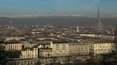 Aerial view of Turin with Mole Antonelliana, Piazza Vittorio Veneto Square Stock Footage