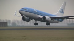 KLM Commercial plane takes off Stock Footage