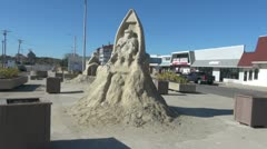 Massachusetts Salisbury Beach sand sculpture Stock Footage