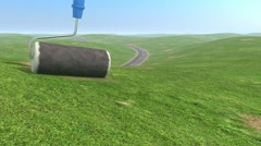 Roller brush painting a road on the grassy hills Stock Footage