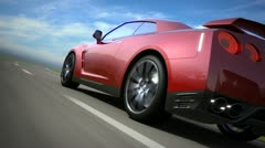 Red sport car moving on the road, loop-ready - stock footage