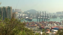 Container Ship Maneuvering In Port Wide Shot Stock Footage