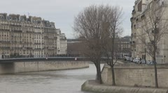 Timelapse People walking on a bridge in Paris Stock Footage