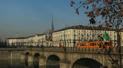 Turin Establishing Shot Time Lapse City Center Commuters Commuting Cars Traffic Stock Footage
