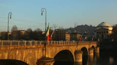 Vittorio Emanuele I Bridge, Po river, Gran Madre di Dio, Piazza Vittorio Veneto Stock Footage