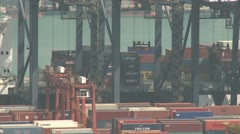 Container Ship Berthed At Port Stock Footage