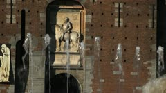 Piazza Castello, Sforzesco Castle, The central tower, Torre del Filarete, Milan Stock Footage