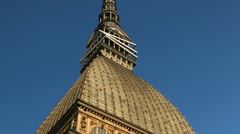 Street view of Turin with Mole Antonelliana, National Museum of Cinema, Italy Stock Footage