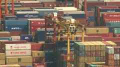 Stock Video Footage of Overlooking Vast Container Port
