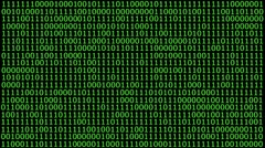 HD animation of a solid wall of binary code - stock footage