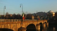 Stock Video Footage of Turin Skyline Italy, Bridge over Po river Italian Architecture Old Church, Trams
