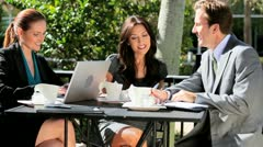 Professional Business Team Working Outdoors Stock Footage