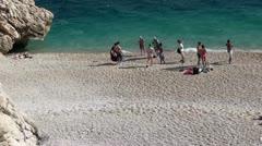 Group of young people on Kaputas beach Stock Footage