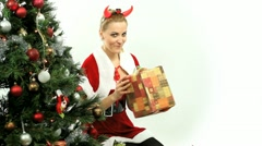 Devilish Santa Stealing Presents Stock Footage