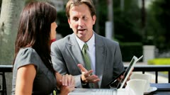 City Business Executives Wireless Technology Outdoors - stock footage