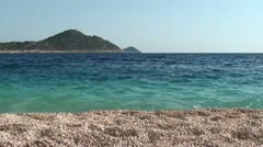 Peaceful view on Kaputas beach and an island Stock Footage