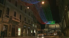 Christmas lights towards The Victor Emmanuel II monument in Rome Stock Footage