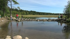 Minnesota Lake Itasca Mississippi River headwaters Stock Footage