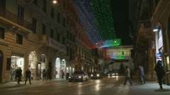 Christmas lights towards VE in Rome (zoom) Stock Footage