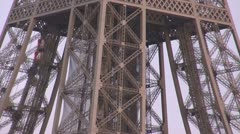 Timelapse Details Eiffel Tower closeup Paris symbol attraction day traffic lift Stock Footage