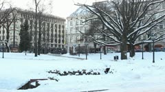 City park in winter ProRes Stock Footage